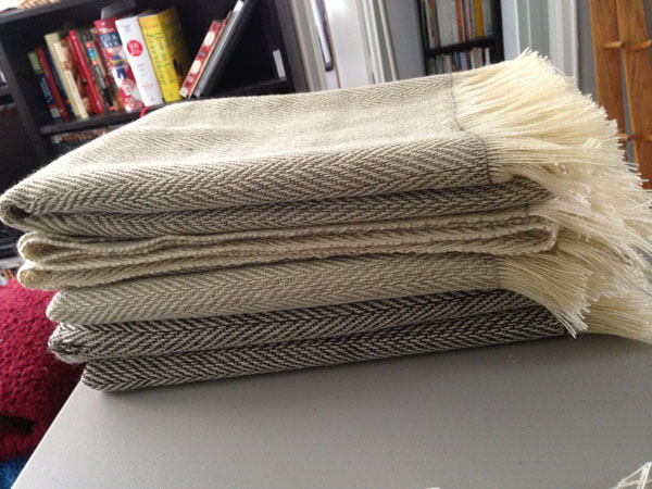 Blankets, fresh off the loom, before being washed.