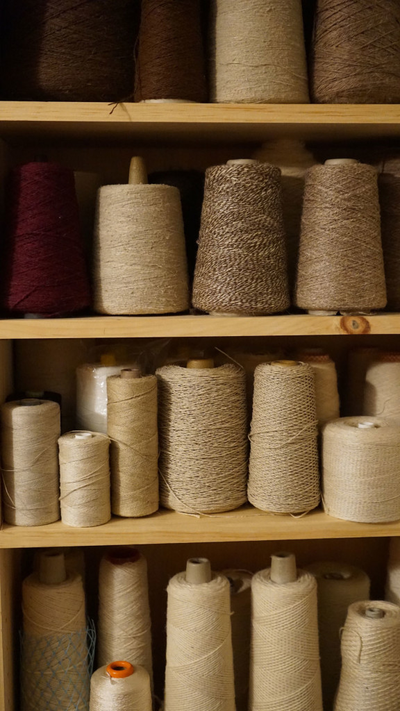 Some of the odds and ends yarns in their natural hues (linen, cotton, hemp, wool and silk)