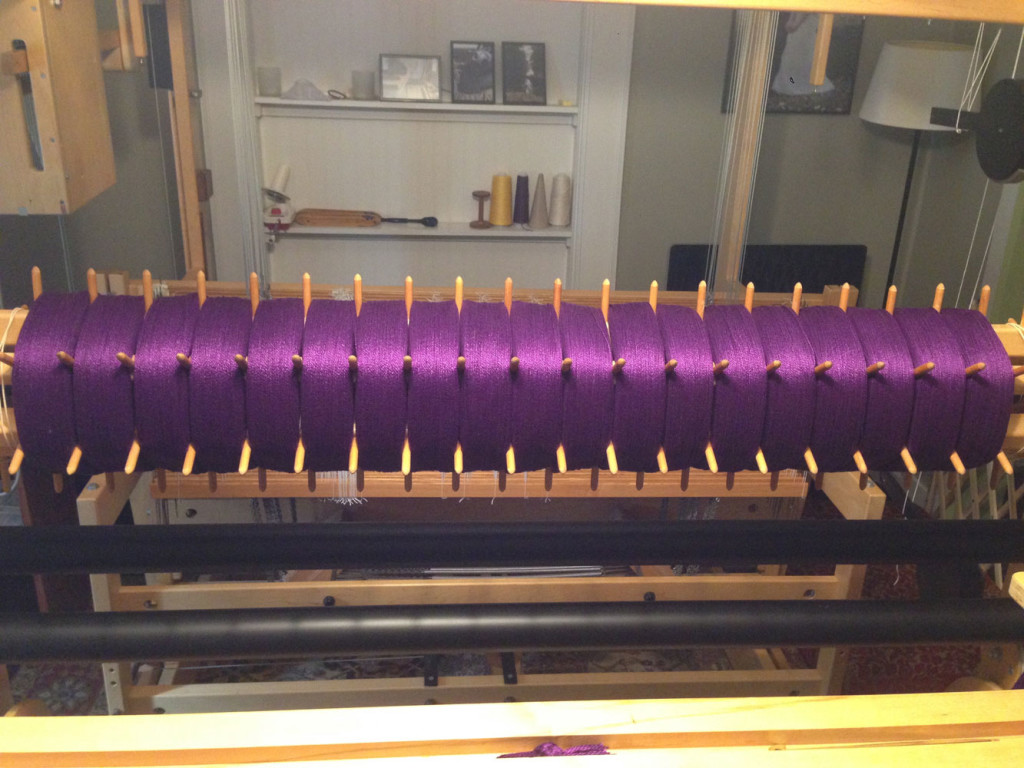 Almost the entire width of my sectional beam taken up by this wonderful purple cotton warp.