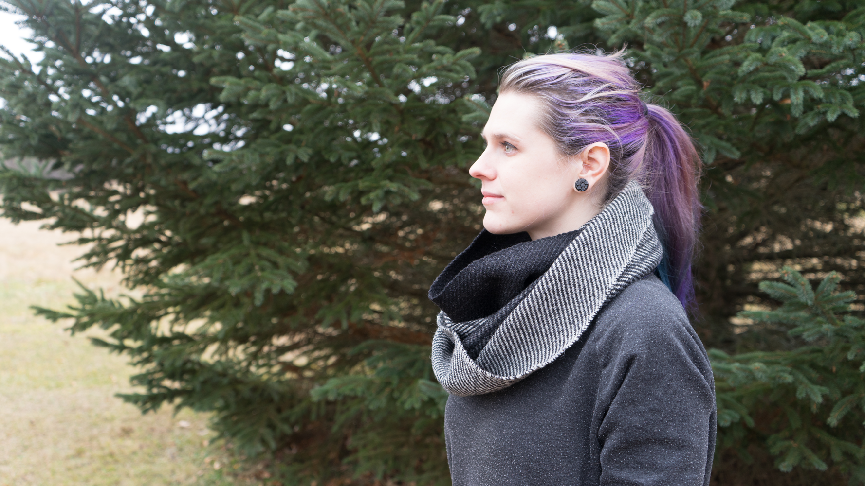 Grey Ombré Infinity Scarf - Side VIew