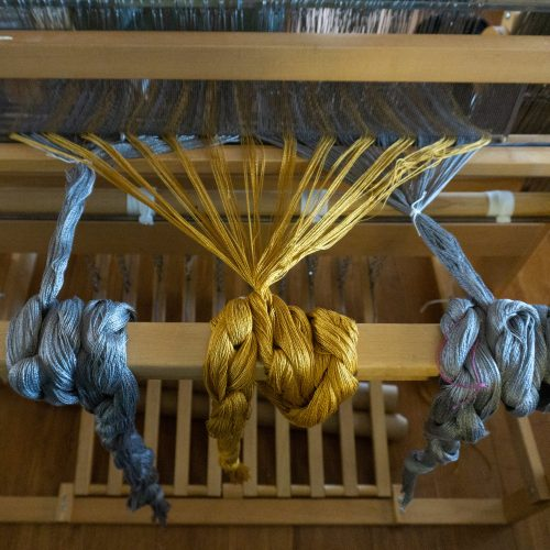 Hope Neck Kerchief warp going on loom