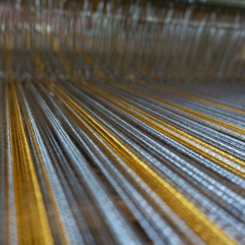 Hope Neck Kerchief warp on back of loom